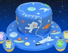 Space Cake - Our Space Set decorates this otherworldy party cake!