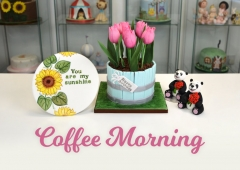 FB Coffee Morning - Panda, Plaque & Tulip Cake
